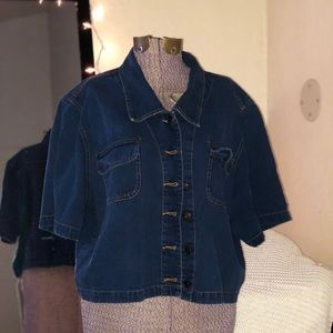 Jean button up top